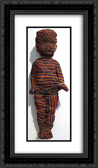 Wrapped Doll (striped) 14x24 Black or Gold Ornate Framed and Double Matted Art Print by May Wilson