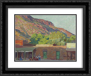 Adobe Town 24x20 Black or Gold Ornate Framed and Double Matted Art Print by Maynard Dixon