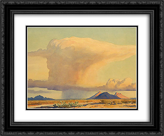 Drought and Downpour 24x20 Black or Gold Ornate Framed and Double Matted Art Print by Maynard Dixon