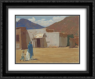 In Old Tucson 24x20 Black or Gold Ornate Framed and Double Matted Art Print by Maynard Dixon