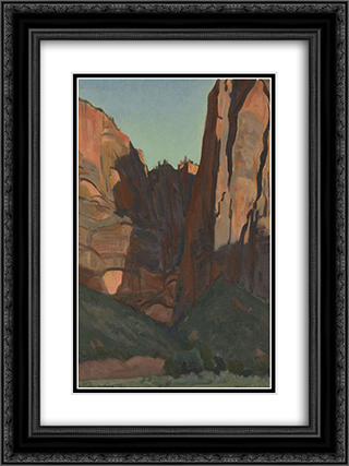 Notch in the Wall, Zion National Park, August 1933 18x24 Black or Gold Ornate Framed and Double Matted Art Print by Maynard Dixon