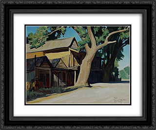 Old Chinatown, Carson City Nevada 24x20 Black or Gold Ornate Framed and Double Matted Art Print by Maynard Dixon