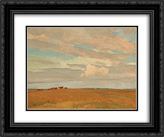 Prairie, Sand Hill Camp, May 1921 24x20 Black or Gold Ornate Framed and Double Matted Art Print by Maynard Dixon