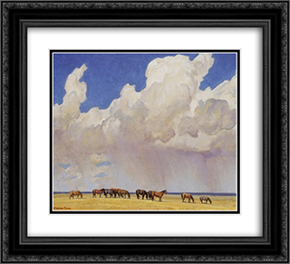 Prairie Shower 22x20 Black or Gold Ornate Framed and Double Matted Art Print by Maynard Dixon