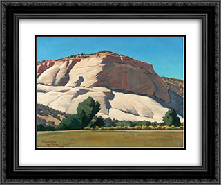 White Butte, Utah 24x20 Black or Gold Ornate Framed and Double Matted Art Print by Maynard Dixon
