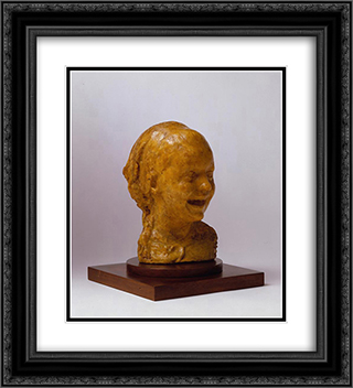 Bambina che ride 20x22 Black or Gold Ornate Framed and Double Matted Art Print by Medardo Rosso