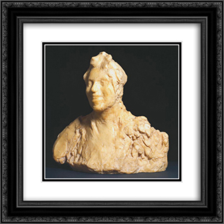 Laughing Woman (Large Version) 20x20 Black or Gold Ornate Framed and Double Matted Art Print by Medardo Rosso