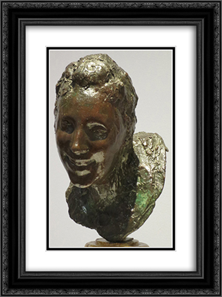 Little Laughing Woman 18x24 Black or Gold Ornate Framed and Double Matted Art Print by Medardo Rosso