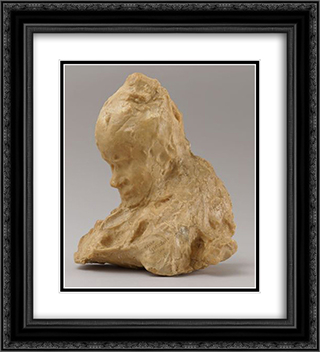 The Concierge 20x22 Black or Gold Ornate Framed and Double Matted Art Print by Medardo Rosso