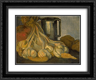A Bunch of Garlic and a Pewter Tankard 24x20 Black or Gold Ornate Framed and Double Matted Art Print by Meijer de Haan