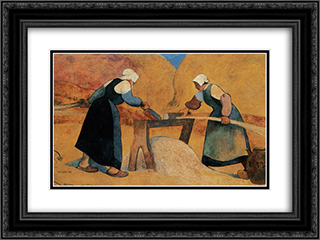 Breton women scutching flax Labour 24x18 Black or Gold Ornate Framed and Double Matted Art Print by Meijer de Haan