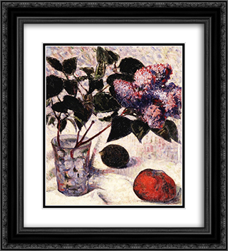 Lilacs in a Glass, Apple and Lemon 20x22 Black or Gold Ornate Framed and Double Matted Art Print by Meijer de Haan