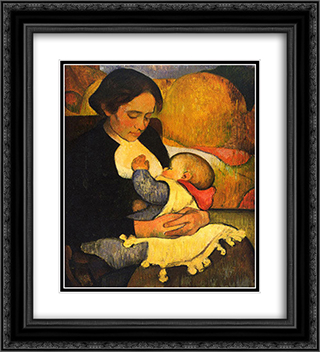 Maternity Mary Henry Breastfeeding 20x22 Black or Gold Ornate Framed and Double Matted Art Print by Meijer de Haan