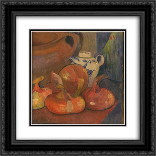 Nature morte, Pichet et Oignons 20x20 Black or Gold Ornate Framed and Double Matted Art Print by Meijer de Haan