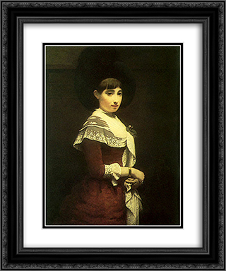 Portrait of a young Jewish woman 20x24 Black or Gold Ornate Framed and Double Matted Art Print by Meijer de Haan
