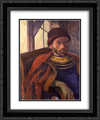Self-portrait in Breton Costume 20x24 Black or Gold Ornate Framed and Double Matted Art Print by Meijer de Haan