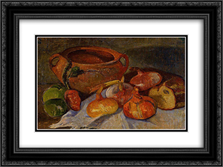 Still Life Pit, Onions, Bread and Green Apples 24x18 Black or Gold Ornate Framed and Double Matted Art Print by Meijer de Haan