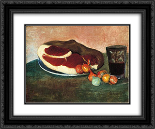 Still Life with Ham 24x20 Black or Gold Ornate Framed and Double Matted Art Print by Meijer de Haan