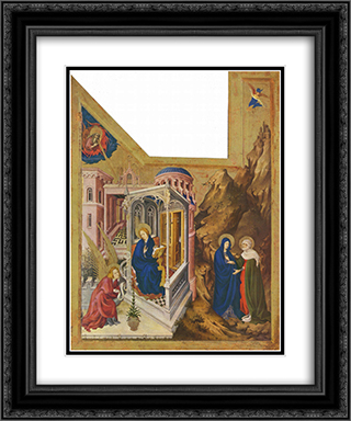Altar of Philip the Bold, Duke of Burgundy, left wing Annunciation and Visitation 20x24 Black or Gold Ornate Framed and Double Matted Art Print by Melchior Broederlam