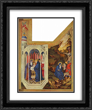 Altar of Philip the Bold, Duke of Burgundy, right wing The presentation in the temple and the Flight to Egypt 20x24 Black or Gold Ornate Framed and Double Matted Art Print by Melchior Broederlam