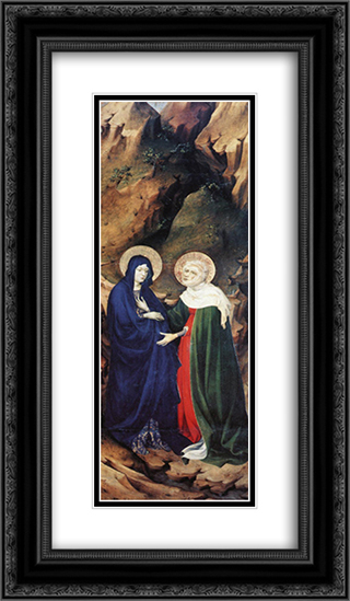 The Visitation (from Altar of Philip the Bold) 14x24 Black or Gold Ornate Framed and Double Matted Art Print by Melchior Broederlam