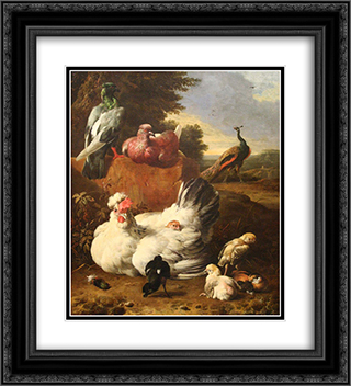 La poule blanche 20x22 Black or Gold Ornate Framed and Double Matted Art Print by Melchior d'Hondecoeter