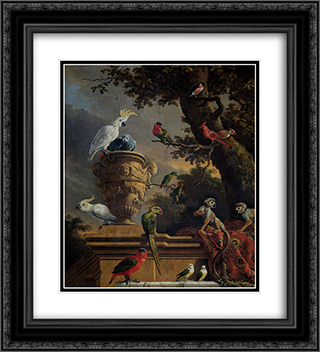 The Menagerie 20x22 Black or Gold Ornate Framed and Double Matted Art Print by Melchior d'Hondecoeter