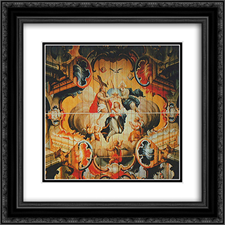 A CoroacÆ'o da Virgem pela Santissima Trindade (detail) 20x20 Black or Gold Ornate Framed and Double Matted Art Print by Mestre Ataide