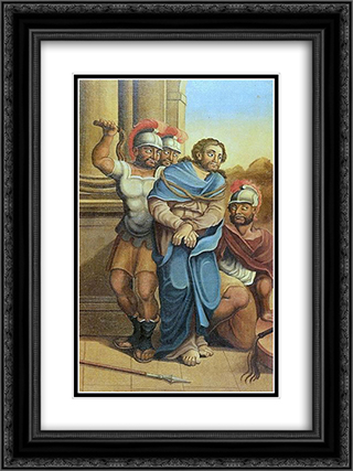 A FlagelacÆ'o de Cristo 18x24 Black or Gold Ornate Framed and Double Matted Art Print by Mestre Ataide