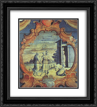 AbraÆ'o Adora os Tres Anjos 20x22 Black or Gold Ornate Framed and Double Matted Art Print by Mestre Ataide