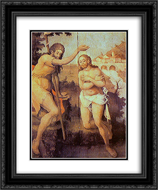 Baptism of Christ 20x24 Black or Gold Ornate Framed and Double Matted Art Print by Mestre Ataide