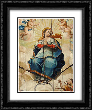 Nossa Senhora da PorciÆ'oncula 20x24 Black or Gold Ornate Framed and Double Matted Art Print by Mestre Ataide