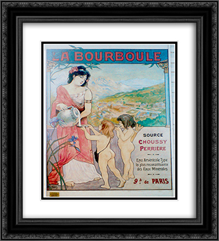 Affiche La Bourboule 20x22 Black or Gold Ornate Framed and Double Matted Art Print by Michel Simonidy