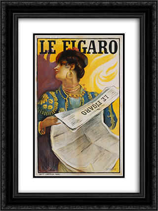 Le Figaro 18x24 Black or Gold Ornate Framed and Double Matted Art Print by Michel Simonidy