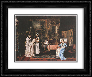 Baby Visitors 24x20 Black or Gold Ornate Framed and Double Matted Art Print by Mihaly Munkacsy