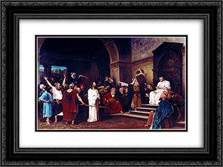 Christ before Pilate 24x18 Black or Gold Ornate Framed and Double Matted Art Print by Mihaly Munkacsy
