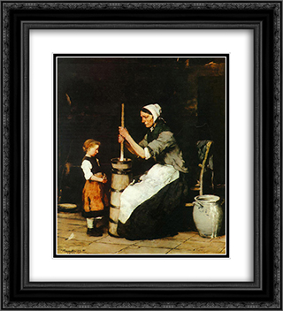 Churning Woman 20x22 Black or Gold Ornate Framed and Double Matted Art Print by Mihaly Munkacsy
