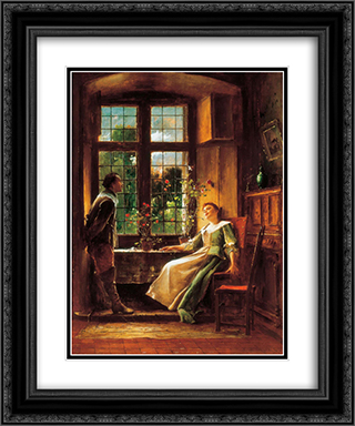 Conversation 20x24 Black or Gold Ornate Framed and Double Matted Art Print by Mihaly Munkacsy
