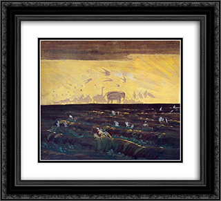 Adoration of the Sun 22x20 Black or Gold Ornate Framed and Double Matted Art Print by Mikalojus Ciurlionis