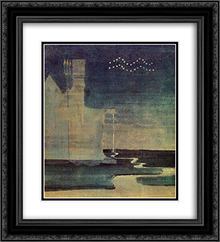 Aquarius 20x22 Black or Gold Ornate Framed and Double Matted Art Print by Mikalojus Ciurlionis