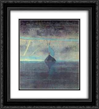 Capricon 20x22 Black or Gold Ornate Framed and Double Matted Art Print by Mikalojus Ciurlionis
