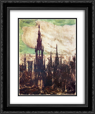City (Towers) 20x24 Black or Gold Ornate Framed and Double Matted Art Print by Mikalojus Ciurlionis