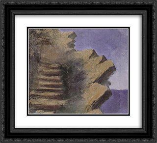 Cliff at the seaside 22x20 Black or Gold Ornate Framed and Double Matted Art Print by Mikalojus Ciurlionis