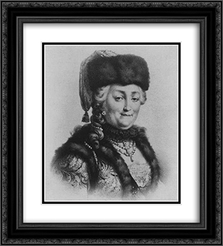 Catherine the Great 20x22 Black or Gold Ornate Framed and Double Matted Art Print by Mikhail Shibanov