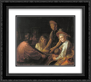 Peasants' meal 22x20 Black or Gold Ornate Framed and Double Matted Art Print by Mikhail Shibanov