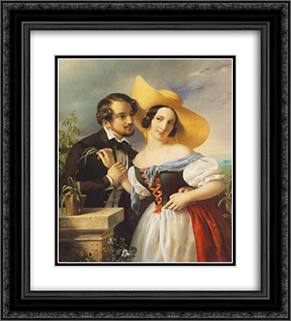 Flirtation 20x22 Black or Gold Ornate Framed and Double Matted Art Print by Miklos Barabas