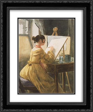 In the Atelier (Roza Teleki) 20x24 Black or Gold Ornate Framed and Double Matted Art Print by Miklos Barabas