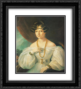 Portrait of a Woman 20x22 Black or Gold Ornate Framed and Double Matted Art Print by Miklos Barabas