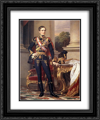 Portrait of Emperor Franz Joseph I 20x24 Black or Gold Ornate Framed and Double Matted Art Print by Miklos Barabas