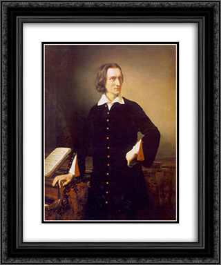 Portrait of Franz Liszt 20x24 Black or Gold Ornate Framed and Double Matted Art Print by Miklos Barabas